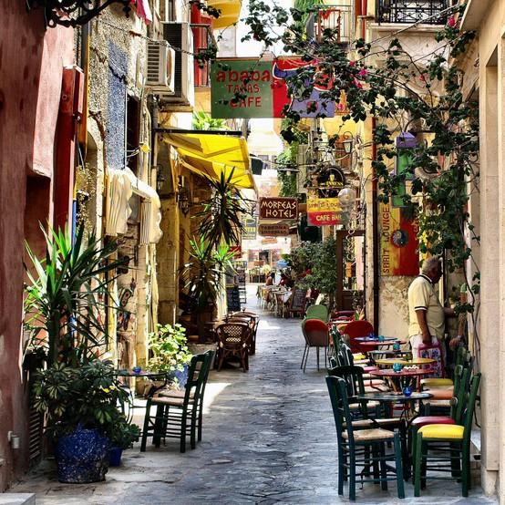 Festive Street, Isle of Crete, Greece