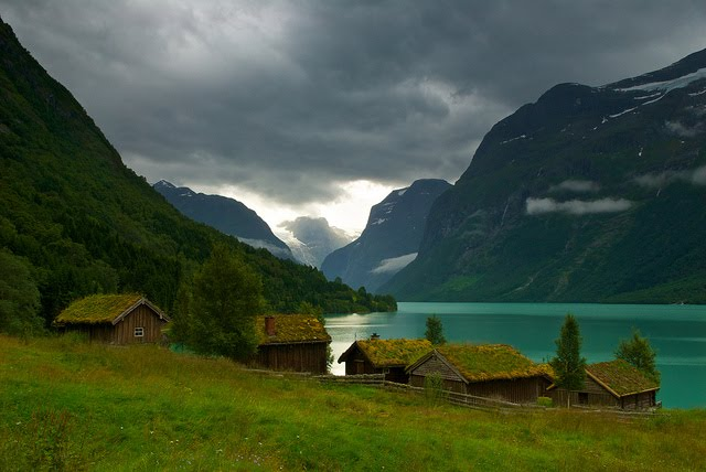 Grass Roofed Village, Loen, Norway